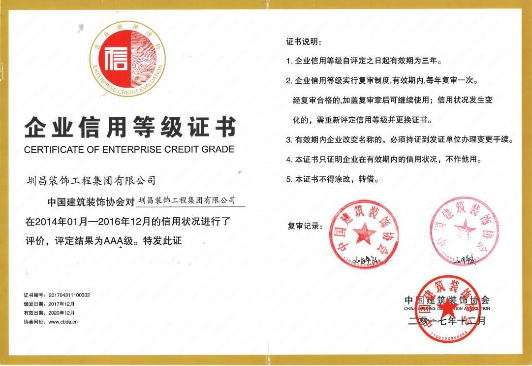 中国建筑新利luck娱乐在线协会评定圳昌新利luck娱乐在线集团企业信用等级3A